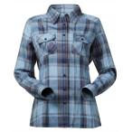 Bergans bjorli lady shirt dusty lt blue solid grey check